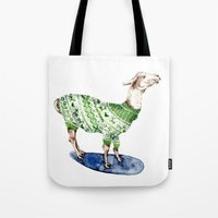 Llama In A Green Deer Sw… Tote Bag