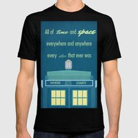 Doctor Who TARDIS Mens Fitted Tee Black SMALL