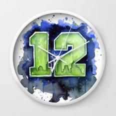 12th Man Seahawks Seattle Go Hawks Art Wall Clock