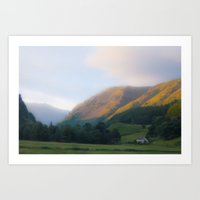 Golden Mountain Sunset Art Print