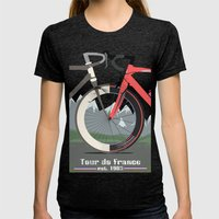 Tour De France Bicycle Womens Fitted Tee Tri-Black SMALL