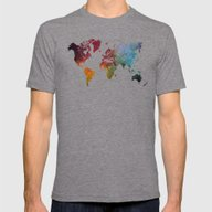 World Map Mens Fitted Tee Tri-Grey SMALL