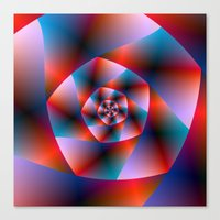 Blue Red And Pink Spiral Canvas Print