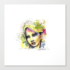 Abstract watercolor portrait Canvas Print