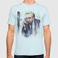 Nicolas Cage Mens Fitted Tee Light Blue SMALL