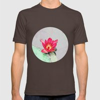 art style pretty pink waterlily flower  Mens Fitted Tee Brown SMALL