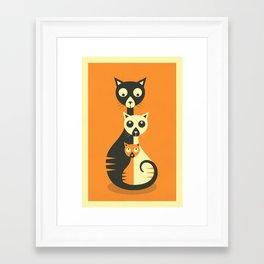 Framed Art Print - 3 Cats - Jazzberry Blue