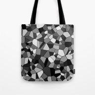 Gray Monochrome Mosaic P… Tote Bag