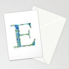Floral Monogram Letter E Stationery Cards