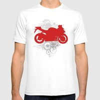 Racing Mens Fitted Tee White SMALL