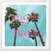Welcome To Paradise - Pink Art Print