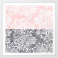 Elegant floral lace gray wood pastel pink block  Art Print