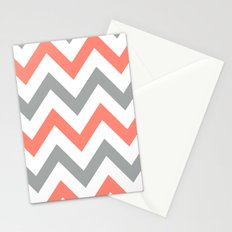 Coral & Gray Chevron Stationery Cards
