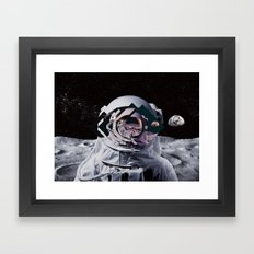 Spaceman oh spaceman, come rescue me (teal) Framed Art Print