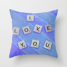 I Love You Darling in Blue Throw Pillow