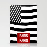 Flag America-Paris Stationery Cards