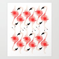 Flamingos! Art Print