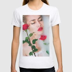 Red lips Womens Fitted Tee Ash Grey SMALL