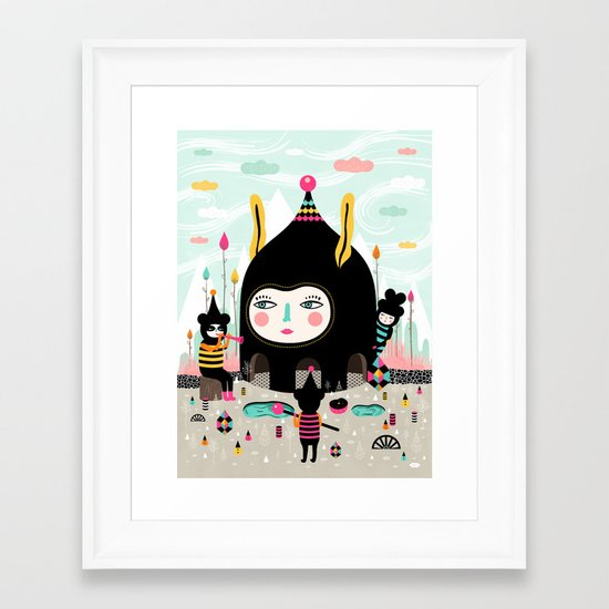 Home is where the happy creatures are! Framed Art Print
