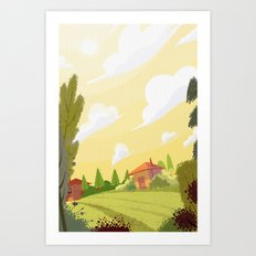 Campagne ensoleillée / Sunny countryside Art Print