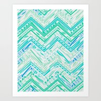 MINT ETHNIC CHEVRON Art Print