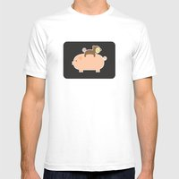 Baby Monkey (Black Bg) Mens Fitted Tee White SMALL