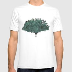 Peacock -blue SMALL Mens Fitted Tee White