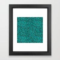 Neon Turquoise Leopard Framed Art Print