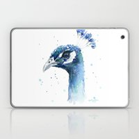 Peacock Watercolor Painting Laptop & iPad Skin