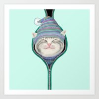 Cat In The Zip Art Print