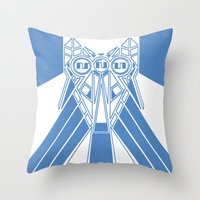 Power Wolf Blue Throw Pillow