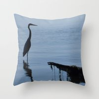 Pretty Blue Lake With A Heron  Throw Pillow