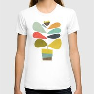 Potted Plant Womens Fitted Tee White SMALL