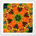 Orange Flower Garden Kaleidoscope Art Print