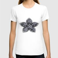 Black Lace Womens Fitted Tee White SMALL