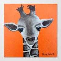 Baby Giraffe Orange Prin… Canvas Print