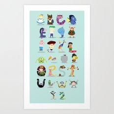 Animated characters abc Art Print
