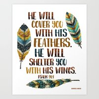 He Will Cover You With H… Art Print