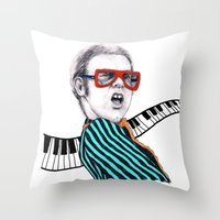 Vintage Elton - Analog Zine Throw Pillow