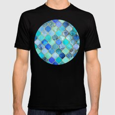 Cobalt Blue, Aqua & Gold Decorative Moroccan Tile Pattern Mens Fitted Tee Black SMALL