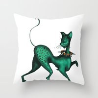 Green Spotted Kitty Throw Pillow