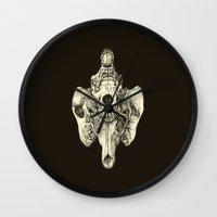 Coyote Skulls - Black and White Wall Clock