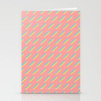 80's Pastel Stripes on Pink  /// www.pencilmeinstationery.com Stationery Cards