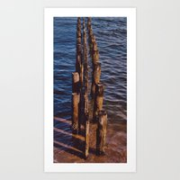 Water-Sand-Wood Art Print