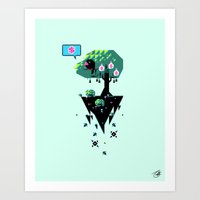 Greedy Grackle Art Print