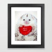 Hedgehog Valentine's Day card (request) Framed Art Print