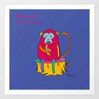 Red Monkey Year Art Print