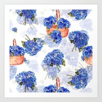 Cape Cod Hydrangeas and Baskets Art Print
