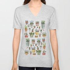 Potted Succulents Unisex V-Neck