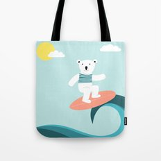 Polar bear surfing. Tote Bag